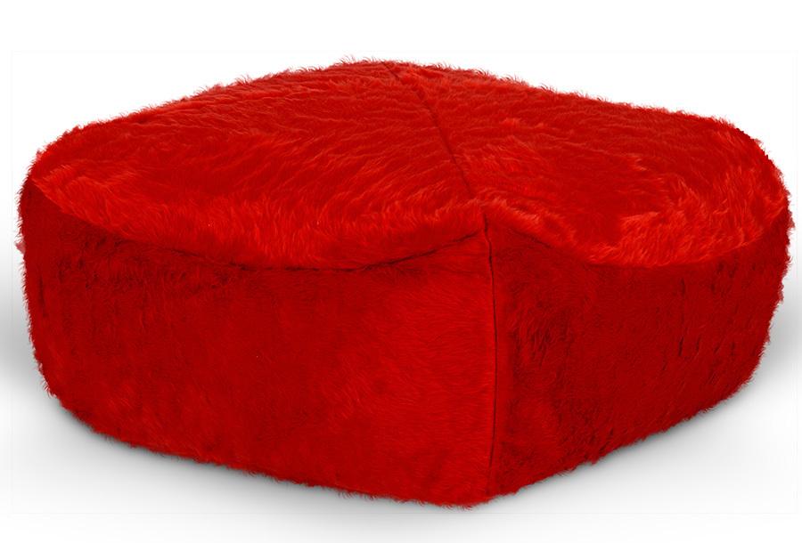 Drop & Sit Furry zitzak Poef - Afmeting 40 x 40 cm - Rood