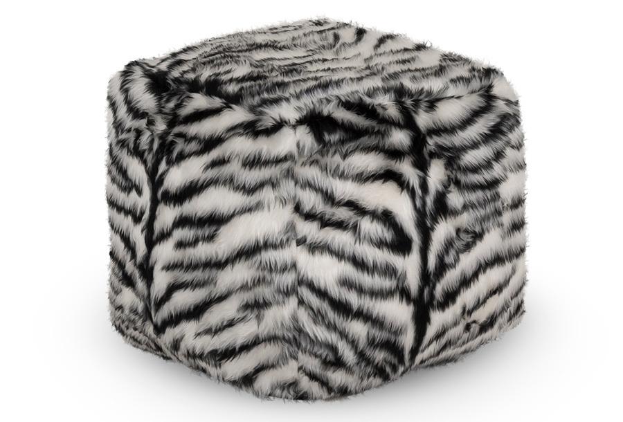 Drop & Sit Furry zitzak Poef - Afmeting 50 cm (diameter) - Zebra
