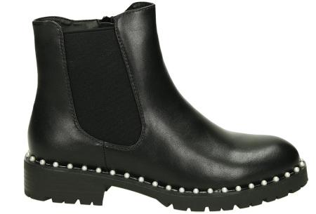 Zwarte enkellaarsjes | Trendy laarsjes voor dames - 4 uitvoeringen Pearl bead boots