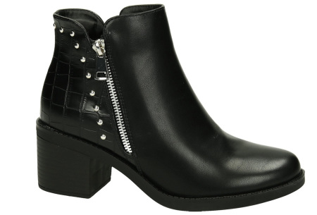 Zwarte enkellaarsjes | Trendy laarsjes voor dames - 4 uitvoeringen Studded zipper boots