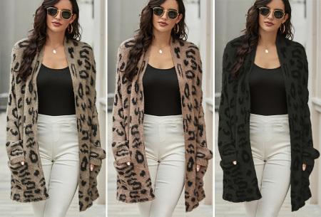 Fluffy panterprint vest | Lang vest voor dames met panterprint
