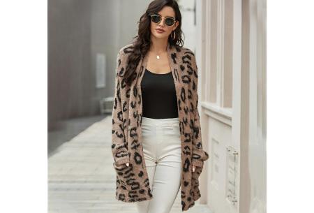 Fluffy panterprint vest | Lang vest voor dames met panterprint Khaki