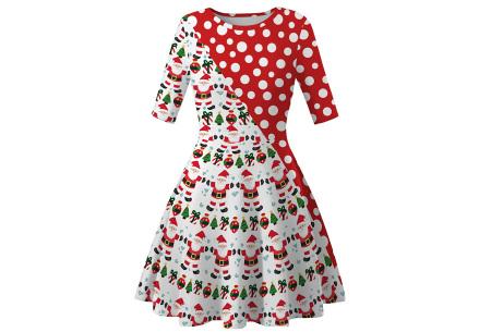 Foute kerstjurk | Originele jurk voor dames - 10 verschillende printjes A - Kerstman met stippen
