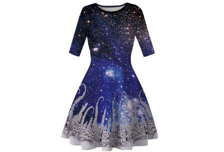 Foute kerstjurk | Originele jurk voor dames - 10 verschillende printjes D - sterrennacht