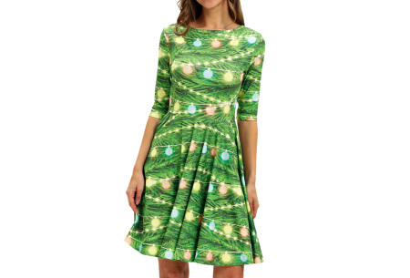 Foute kerstjurk | Originele jurk voor dames - 10 verschillende printjes F - Kerstverlichting