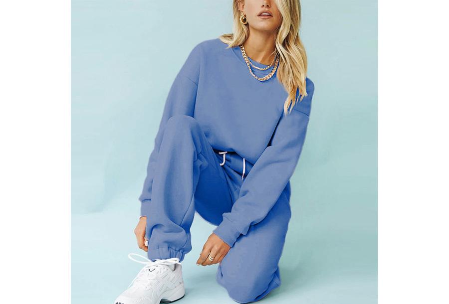 Superzacht huispak voor dames Joggingbroek + sweater - Blauw - maat XL