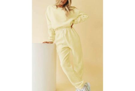 Superzacht huispak voor dames | Fleece gevoerde joggingbroek en/of sweater - in 5 kleuren Geel - set