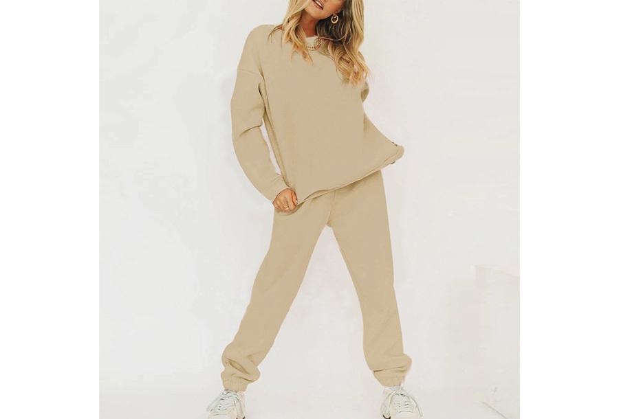 Superzacht huispak voor dames Joggingbroek + sweater - Khaki - maat M