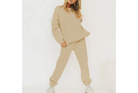 Superzacht huispak voor dames | Fleece gevoerde joggingbroek en/of sweater - in 5 kleuren Khaki - set