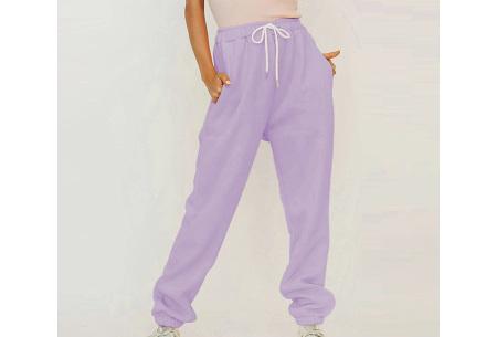 Superzacht huispak voor dames | Fleece gevoerde joggingbroek en/of sweater - in 5 kleuren Paars - broek