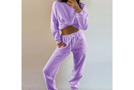 Superzacht huispak voor dames | Fleece gevoerde joggingbroek en/of sweater - in 5 kleuren Paars - set