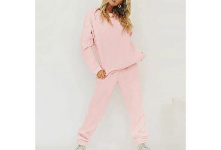 Superzacht huispak voor dames | Fleece gevoerde joggingbroek en/of sweater - in 5 kleuren Roze - set