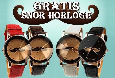 Snor horloge in zwart, bruin, rood of wit t.w.v. €34,95 nu GRATIS!
