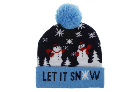 Kerstmuts met lichtjes | Muts met lampjes en kerstprint - Voor dames en heren 5 - Let it snow 1