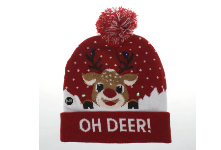 Kerstmuts met lichtjes | Muts met lampjes en kerstprint - Voor dames en heren 9 - Oh deer 1
