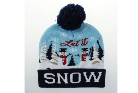 Kerstmuts met lichtjes | Muts met lampjes en kerstprint - Voor dames en heren 10 - Let it snow 2