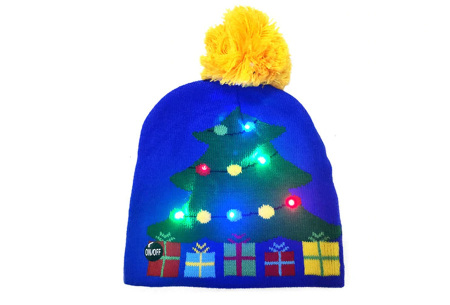 Kerstmuts met lichtjes | Muts met lampjes en kerstprint - Voor dames en heren 11 - Kerstboom blauw