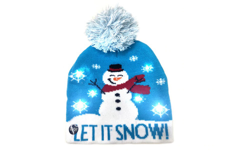 Kerstmuts met lichtjes | Muts met lampjes en kerstprint - Voor dames en heren 12 - Let it snow 3