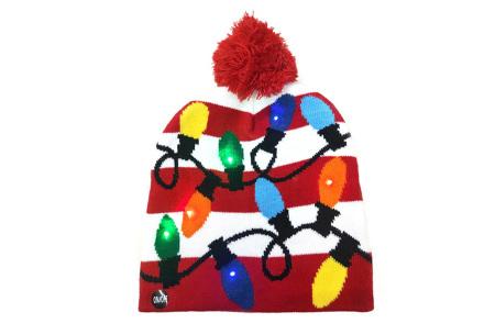 Kerstmuts met lichtjes | Muts met lampjes en kerstprint - Voor dames en heren 13 - Lichtjes rood/wit