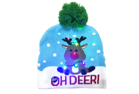 Kerstmuts met lichtjes | Muts met lampjes en kerstprint - Voor dames en heren 15 - Oh deer 2