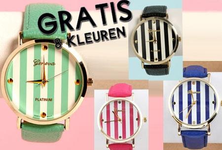 Stripe horloge - t.w.v. €34,95 nu GRATIS!