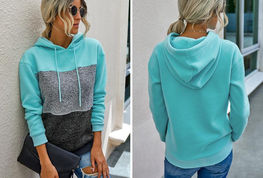 Striped dames hoodie Maat L - Blauw
