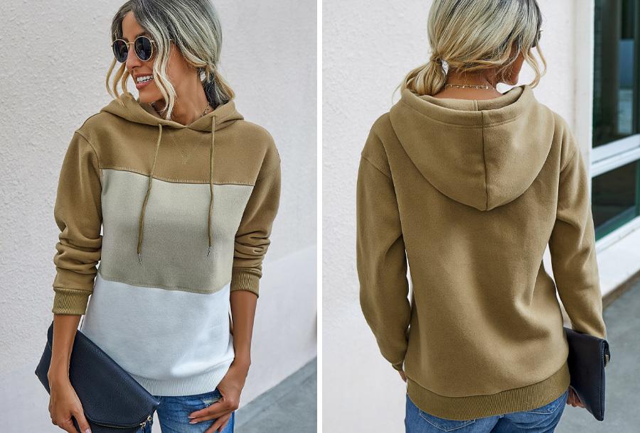 Striped dames hoodie Maat S - Khaki