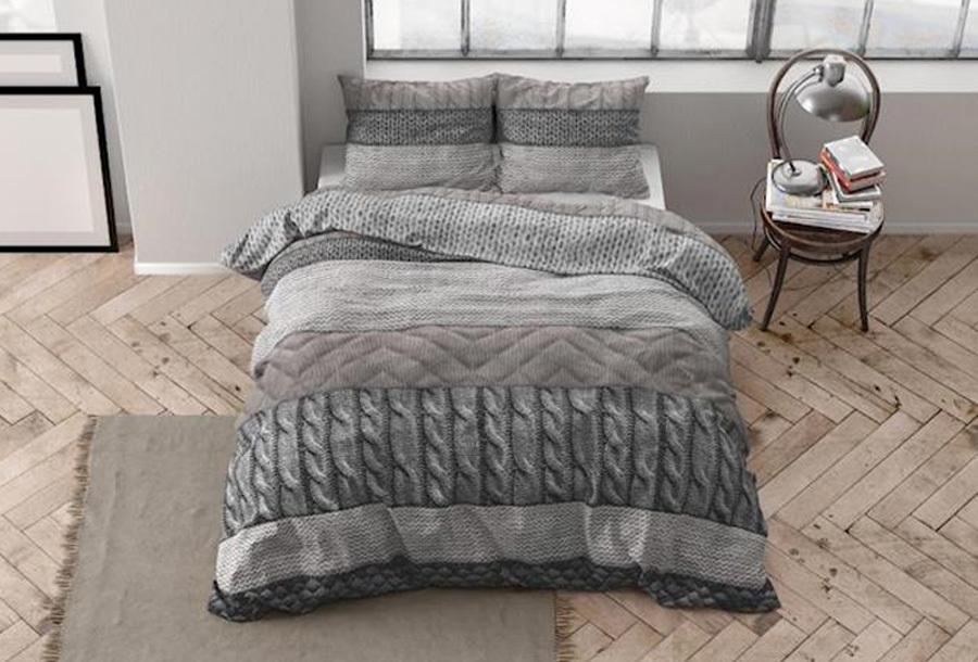 Flanellen dekbedovertrekken van Dreamhouse Maat 140 x 220 cm - Elin taupe