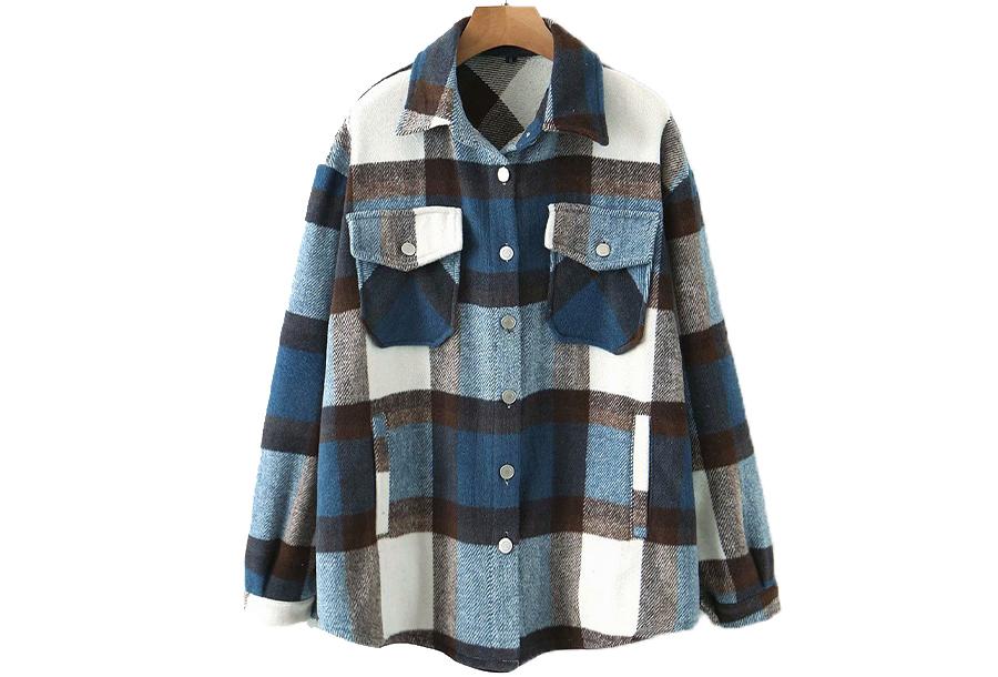 Warme & zachte tussenjas - Maat L - Blauw/bruin