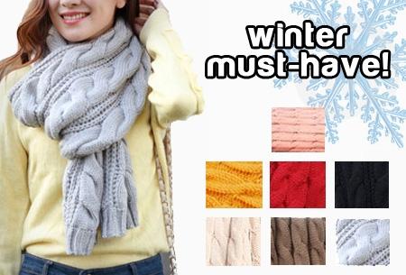 Gebreide sjaal t.w.v. €24,95 nu slechts €9,95. Winter must-have!