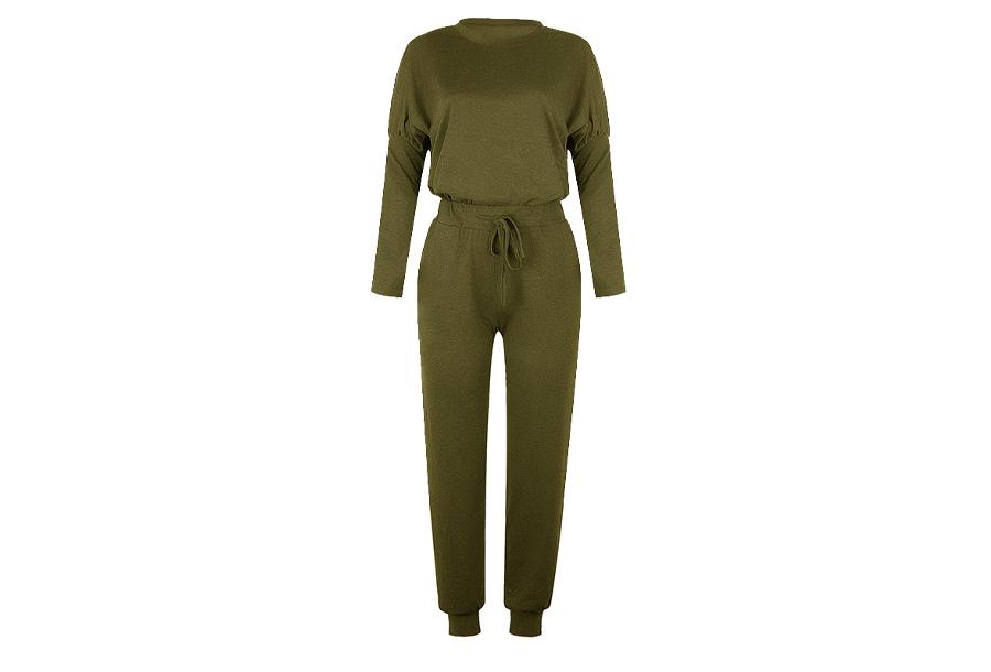 Basic dames pyjama - Maat XS - Legergroen
