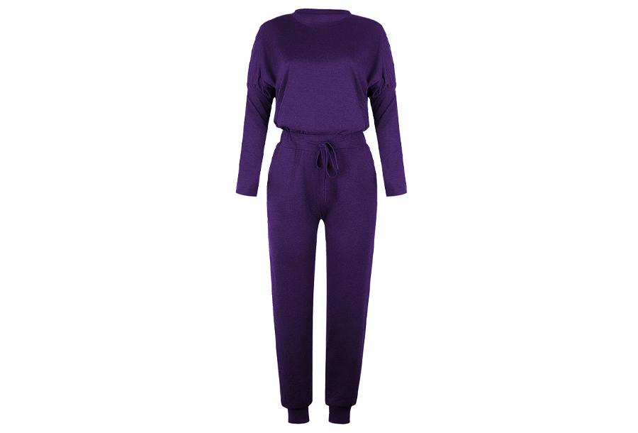 Basic dames pyjama - Maat XL - Paars