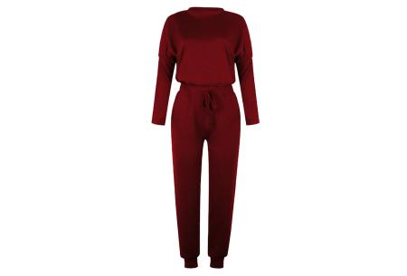 Basic dames huispak   Super zachte en luchtige loungewear - in 14 kleuren! wijnrood
