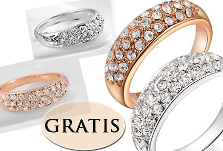 Crystal Ring - verzilverd of verguld t.w.v. €24,95 nu GRATIS.