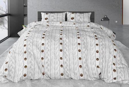 Sleeptime flanellen dekbedovertrekken | Zachte en warme dekbedhoes van flanel Knit button white