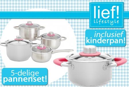 Wonderbaar Lief! Lifestyle 5-delige pannenset met kinderkookpan t.w.v. €199 EB-84