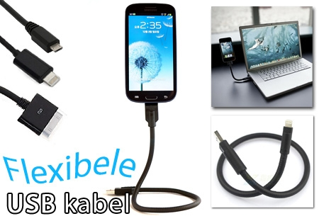 Flexibele USB kabel voor iPhone 4, 5 of Micro USB in 3 lengtes al vanaf €7,95