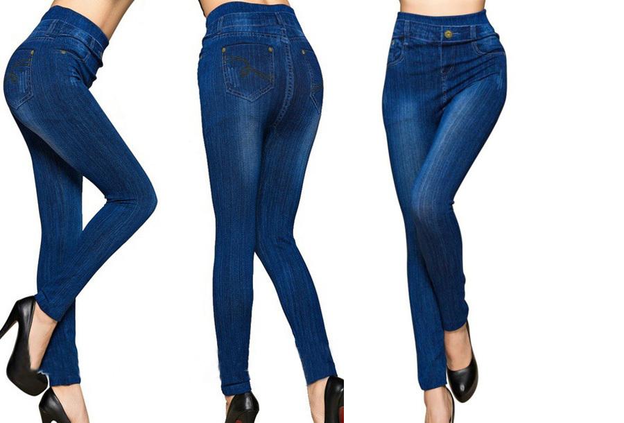 High waist jeans legging Blauw