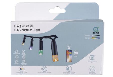 FlinQ Smart kerstverlichting | 200 leds lichtslinger voor binnen of buiten - 23 meter lang! Snelle levering!