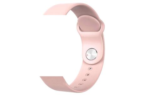 Unisex smartwatch | Stijlvol horloge met siliconen bandje Extra bandje - siliconen roze