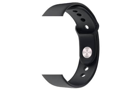 Unisex smartwatch | Stijlvol horloge met siliconen bandje Extra bandje - siliconen zwart