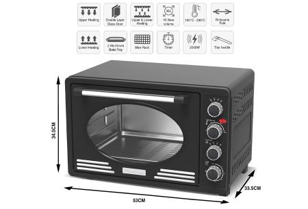 TurboTronic elektrische oven | Voor bakken, grillen en verwarmen - Met klassieke retro look!