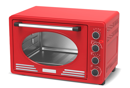 TurboTronic elektrische oven | Voor bakken, grillen en verwarmen - Met klassieke retro look!  Rood