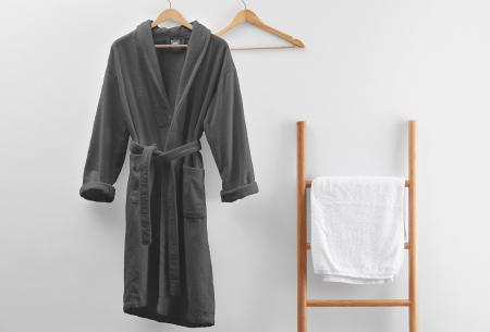 Badjas van badstof | Ochtendjas van 100% katoen voor dames en heren Antraciet