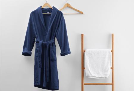 Badjas van badstof | Ochtendjas van 100% katoen voor dames en heren Donkerblauw