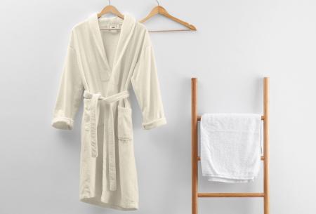 Badjas van badstof | Ochtendjas van 100% katoen voor dames en heren Crème
