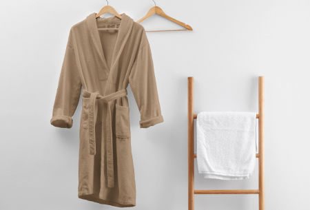Badjas van badstof | Ochtendjas van 100% katoen voor dames en heren Taupe