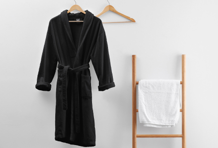Badjas van badstof | Ochtendjas van 100% katoen voor dames en heren Zwart