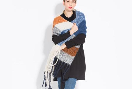 Sjaal met kwastjes voor dames   Grote gebreide sjaal in 12 kleuren Blauw/okergeel