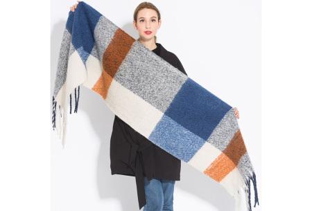 Sjaal met kwastjes voor dames   Grote gebreide sjaal in 12 kleuren